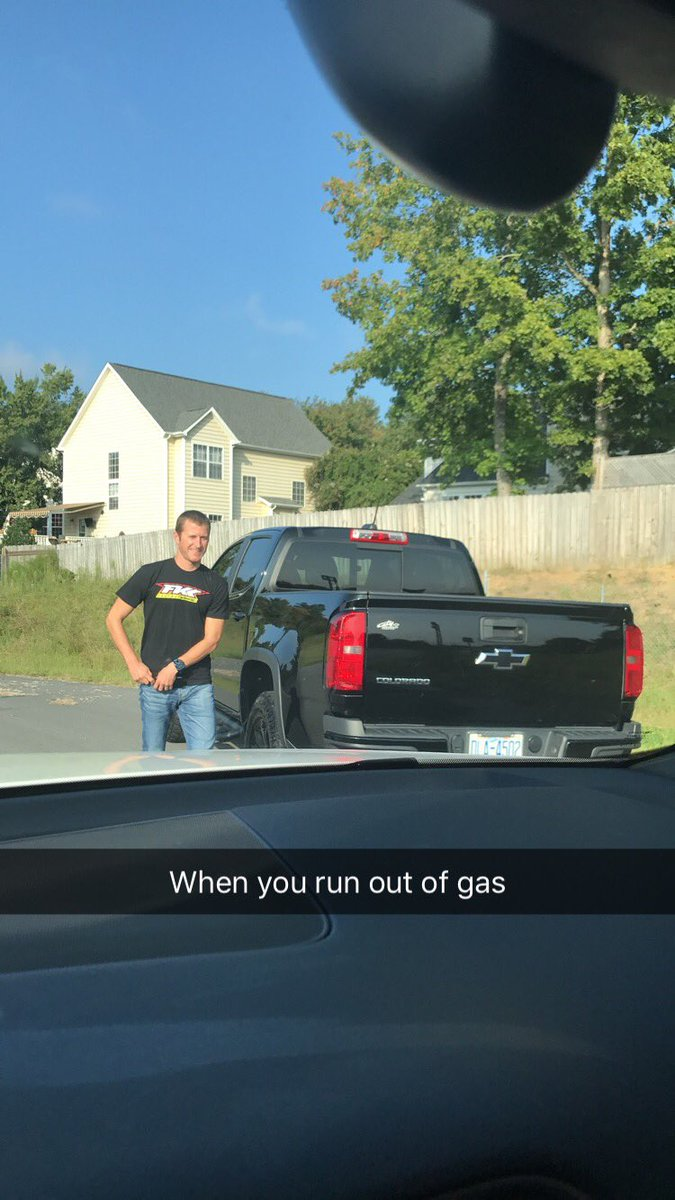 True story. @kaseykahne ran out of gas yesterday on his way to sign his new contract