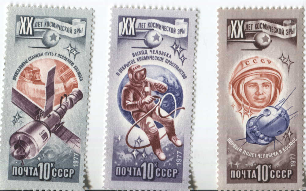 #soviet #space #stamps 1 of 2, celebrating 20 years of spaceflight. 1st space station, 1st spacewalk, 1st manned flight #spaceart #sciart <br>http://pic.twitter.com/4SXxDqEgiq