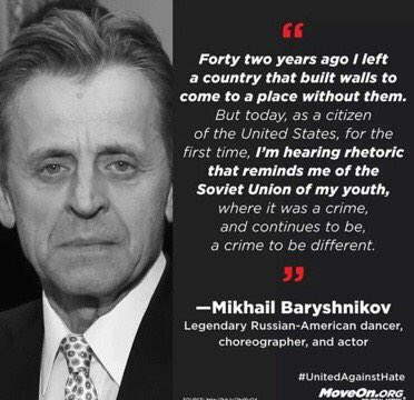 RT @ananavarro: Stop to read this from Mikhail Baryshnikov. It is poignant and sad. Deserves reflection. https://t.co/N3GAEOHm0j