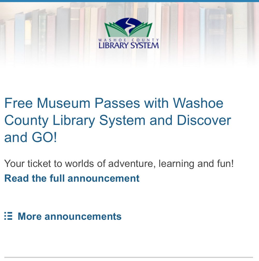WashoeCountyLibrary On Twitter Free Museum Passes With Washoe