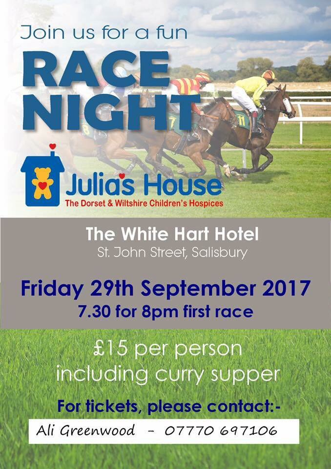 #Salisburyhour our next #charity event is #racenight come along and have a flutter contact @aligreenwood1 for details<br>http://pic.twitter.com/tanOs2o6pM