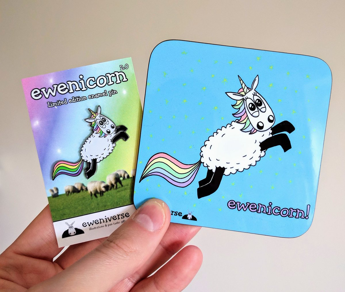 Enamel pin &amp; coaster - the mythical Ewenicorn - only at  http://Www. eweniverse.com  &nbsp;     #HandmadeHour #Sheep #Unicorn<br>http://pic.twitter.com/TvkeqTEA5M