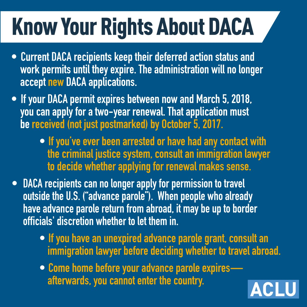 DACA recipients, you have rights.  If you have questions, talk with a lawyer before submitting a renewal. #HereToStay