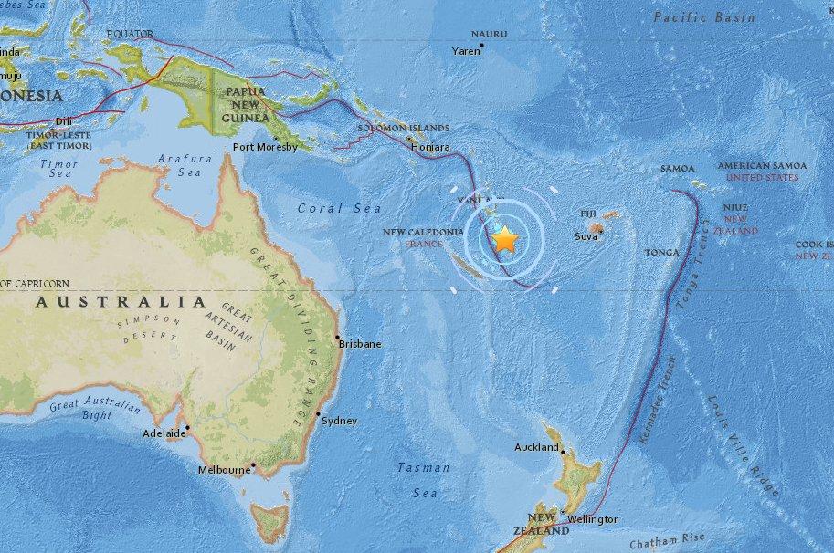 BREAKING: 6.4 M Earthquake strikes off the coast of Vanuatu in the Pacific Ocean