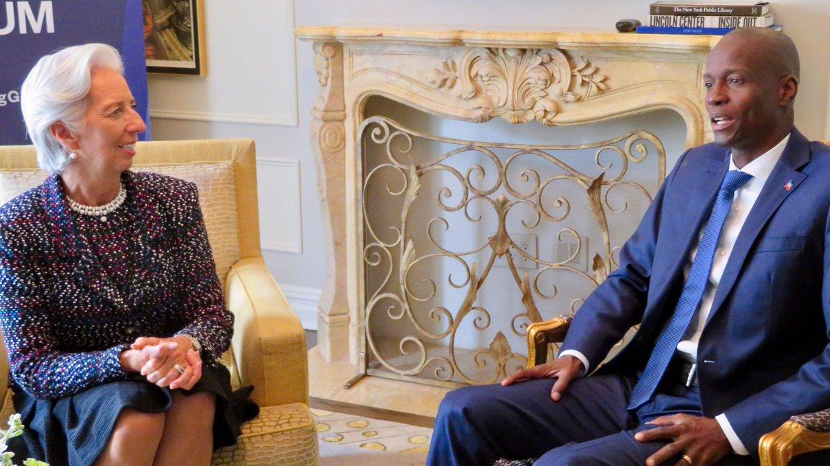 J'ai rencontré le président @moisejovenel pour discuter des défis éco. auxquels #Haïti est confronté et de l'aide que le FMI peut apporter
