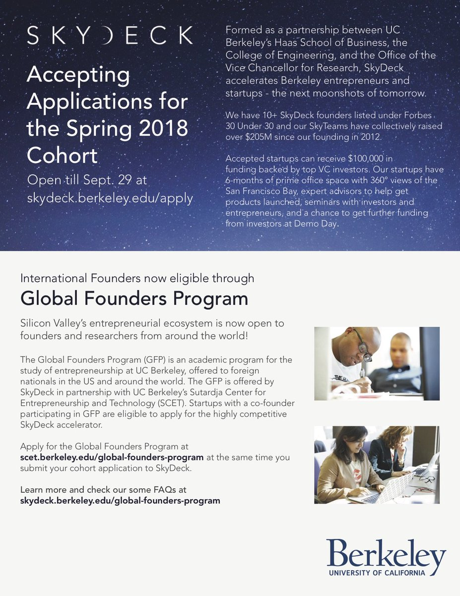 9/29 @SkyDeck_Cal @Cal #startup #accelerator app deadline, CoHort eligible for 100K from SkyDeck Fund! check out #Global #Founders Program!<br>http://pic.twitter.com/zNVBOFHosz