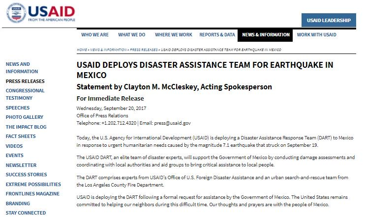 NEWS: USAID Deploys Disaster Assistance Team for Earthquake in Mexico...