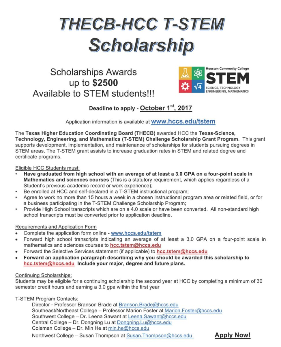 hcc district on twitter receive up to 2500 in scholarship money through the t stem challenge scholarship grant program