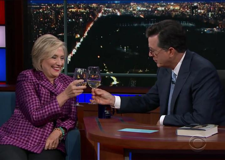 Clinton and Colbert consume chardonnay, chat collusion: https://t.co/vvyRM7rnos