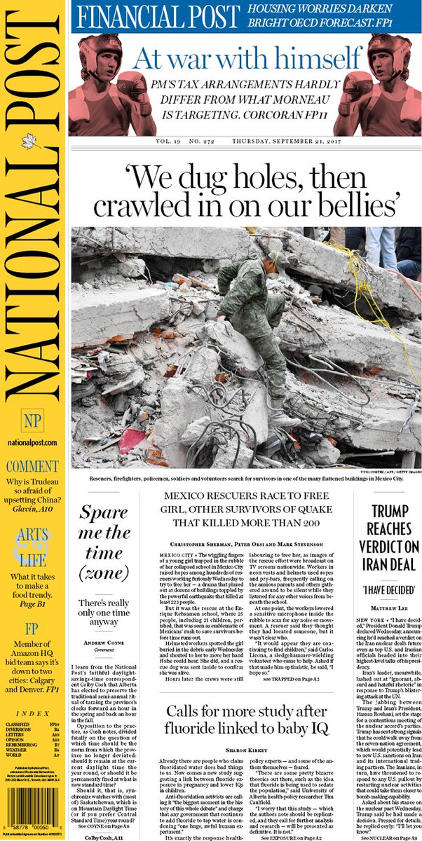 The Post's #frontpage for Thursday, Sept. 21, 2017.