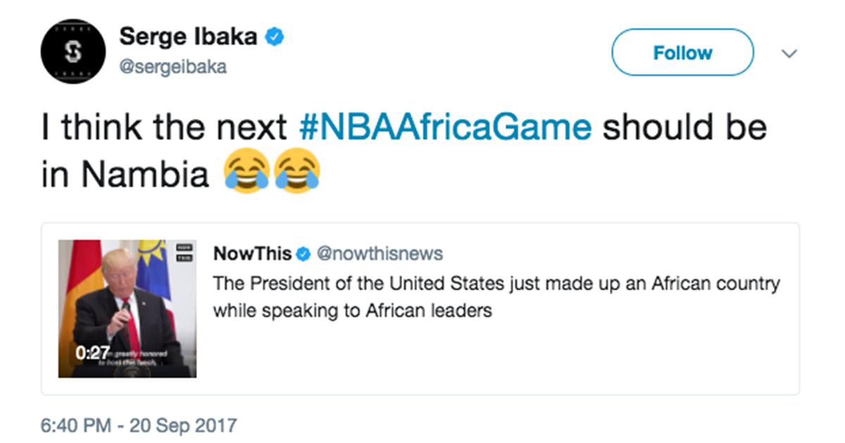 Raptors' Serge Ibaka pokes fun at Donald Trump for 'Nambia' mishap. https://t.co/yMrqWrlIP8