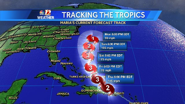 11pm MARIA track remains off NC coast for now. We'll watch it closely into next week https://t.co/gXio9141xM