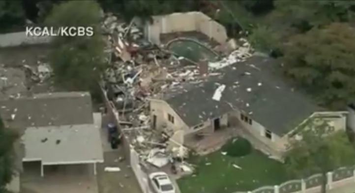 JUST IN: Explosion partially destroys home in the Los Angeles neighborhood of Canoga Park, cause of blast under investigation