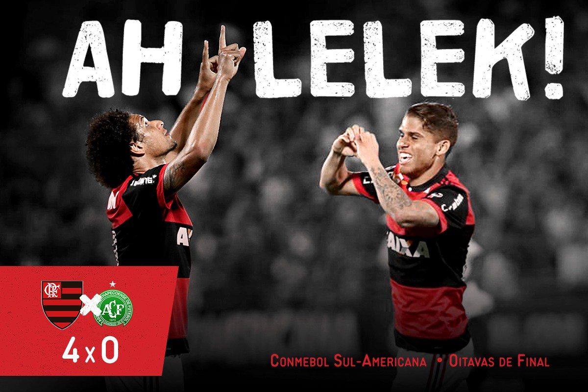 #AhLelek ! No passinho dos volantes,#Flamengo  vence por 4x0 (Cuéllar, Arão, Juan, Paquetá) e avança às quartas da Conmebol Sul-Americana