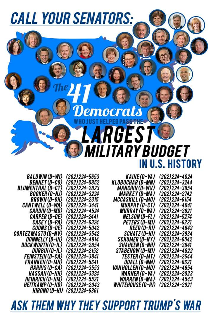 So @TheDemocrats vote for a military budget that costs twice as much as the free public #highereducation bill they mock Bernie for <br>http://pic.twitter.com/LOwf9HCVlh