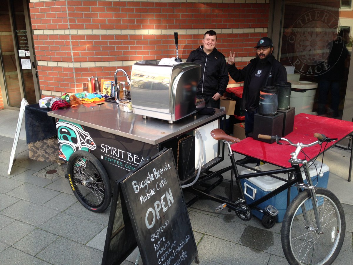 Happy to have @spiritbearcoffe  Bicycle Bearista serving coffe at our open house! #kwikwetlemBP <br>http://pic.twitter.com/sbrEypSc8Y