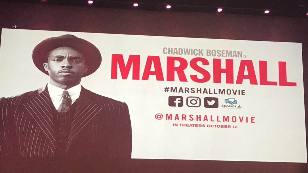#Spotter We are here at the exclusive screening of @chadwickboseman latest film @marshallmovie. Check us of out as we give you updates.<br>http://pic.twitter.com/aZtVRTSSH1