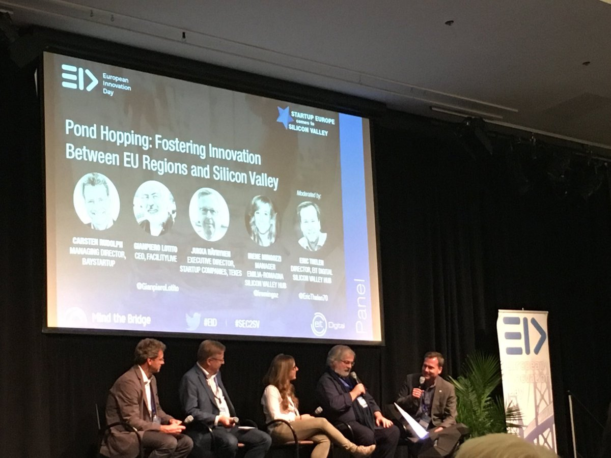 Glad to be on the #EID panel on Fostering Innovation between EU Regions &amp; Silicon Valley w/ @Tekesfi @EIT_Digital @BayStartUp @FacilityLive<br>http://pic.twitter.com/UZh0qPOif6