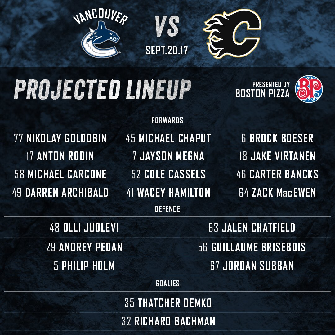 #Canucks projected line-up, presented by @bostonpizza.   LET'S GOOOOOO...
