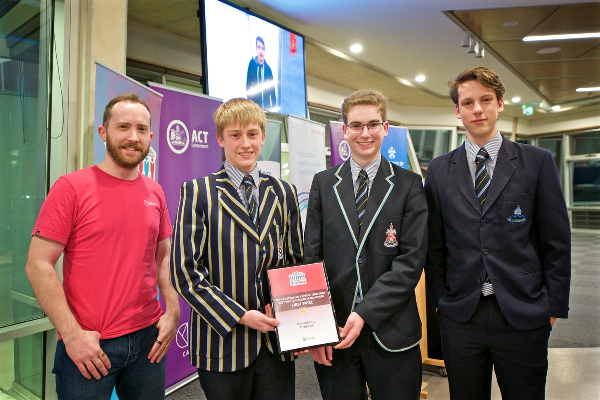 Congratulations to @CanberraGrammar teams Tindata (pictured) and Heckerman for their wins at the #GovHack ACT Awards last night.