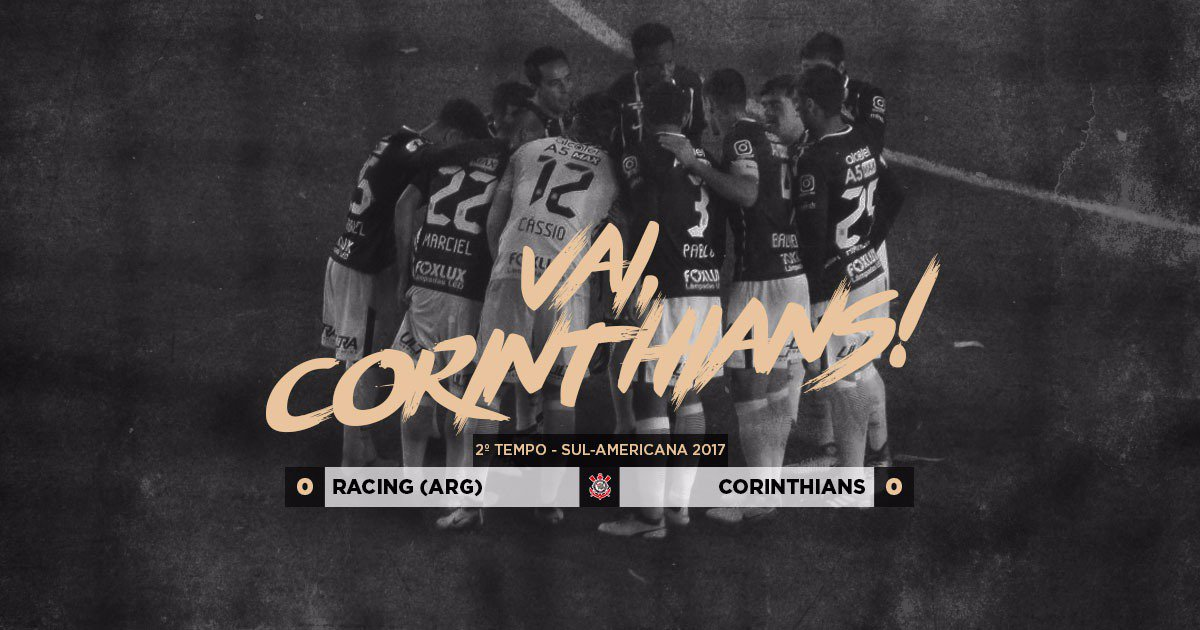 Rola a bola para o segundo tempo de #RACxCOR.  #VaiCorinthians  #SulAmericana