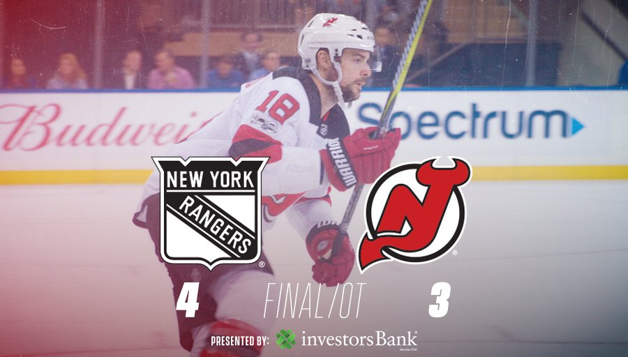 Filip Chytil nets the GWG with 3.5 seconds left in OT. #NJDevils fall to the Rangers 4-3. 😕