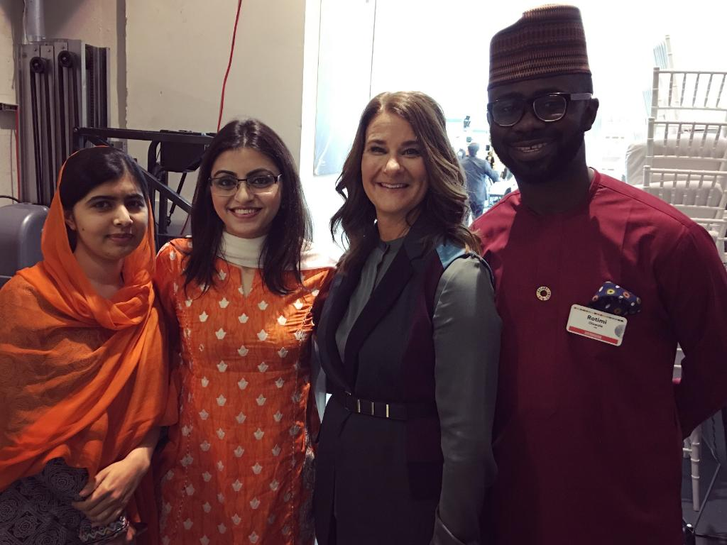 It was an honor to host @Malala and two of the champions working alongside her—@Gulalai_Ismail and @rotexonline—at #Goalkeepers17 today. <br>http://pic.twitter.com/5Vywf6Ql7b