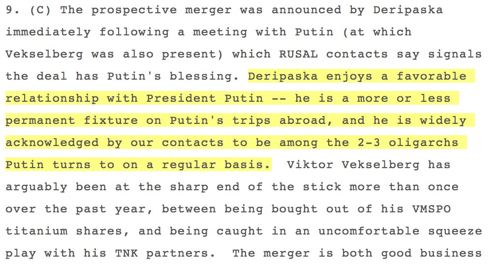 Classified US embassy cable: Paul Manafort contact Oleg Deripaska is 'among the 2-3 oligarchs  Putin turns to on a regular basis.'