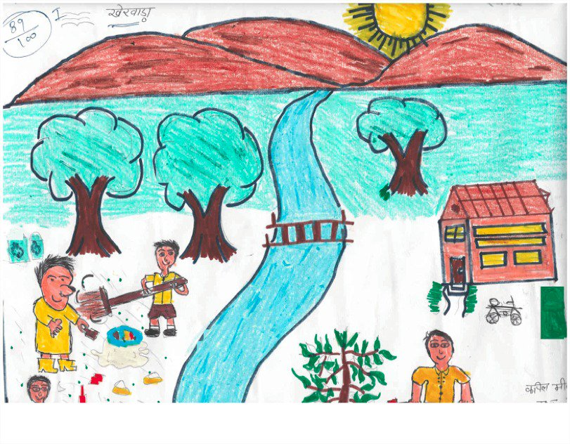 Through this prize winning painting Kapil Meena from Udaipur showcases how public participation can result in a clean village. @swachhbharat