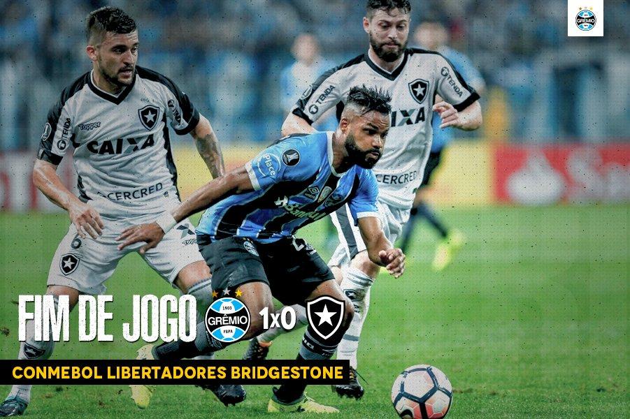 Fim de jogo: Grêmio 1x0 Botafogo COMEMORA, TORCEDOR! Estamos na semi-final da #Libertadores2017! #SoyLocoPorTri #QueremosACopa