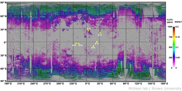 月の土壌に含まれる水の全球分布...