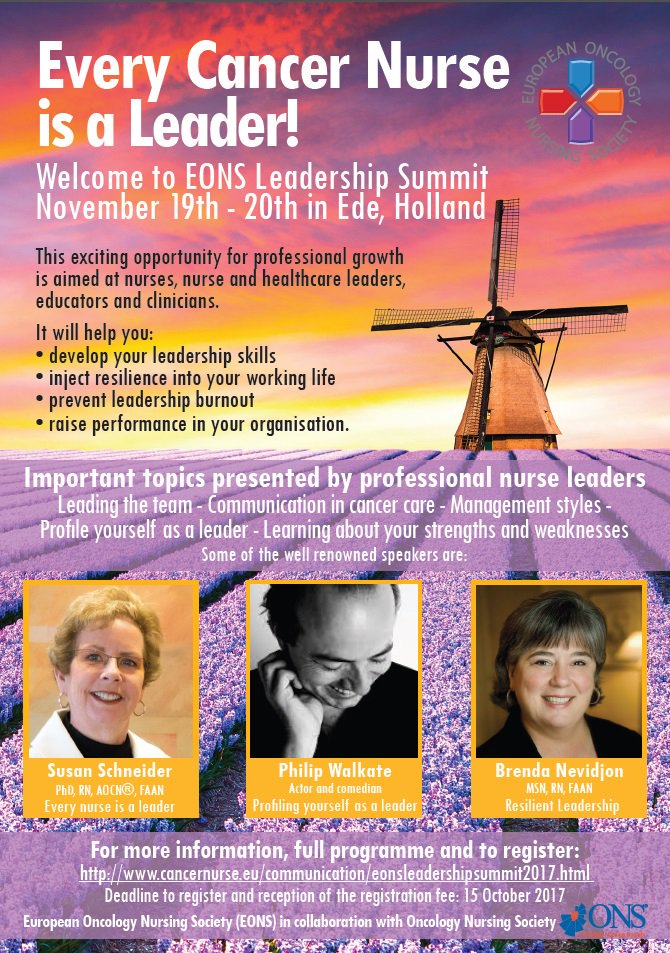 Every @cancernurseEU is a #Leader #ECNL17, 19 &amp; 20 November 2017 in Ede, #Netherlands   before 15 October 2017 - #EONS #grants available <br>http://pic.twitter.com/dkcJS609jH