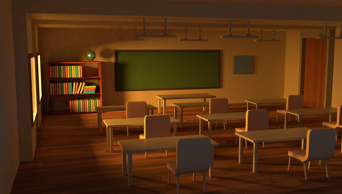 finally finished my #classroom model, #b3d #blender #modelling #school #3d #artist &quot;evening sun rays into classroom&quot; <br>http://pic.twitter.com/NHiKJcppix