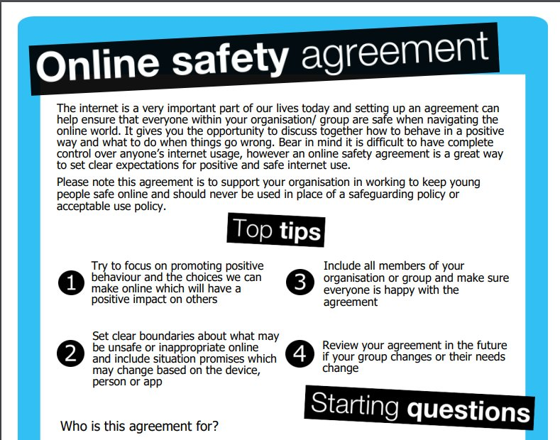 Childnet On Twitter New Online Safety Agreement Template To Help