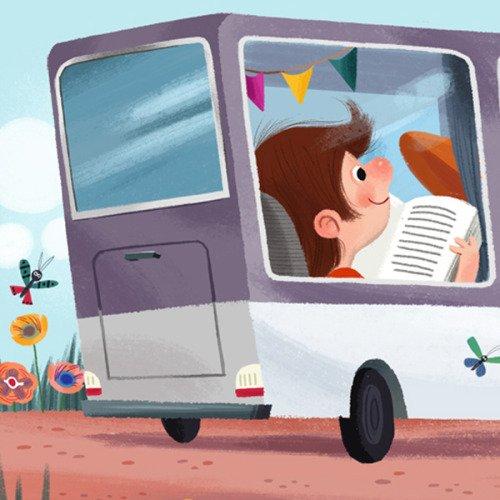 «Leer en el bus es viajar dos veces ». Autor desconocido  *Ilustración...