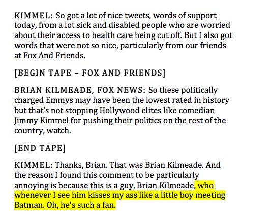 .@jimmykimmel goes **off** on @kilmeade: 'I don't get anything out of...