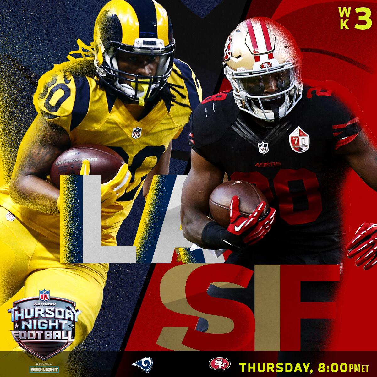 The @RamsNFL! The @49ers! Thursday!  Only on @nflnetwork (8pm ET). #TN...