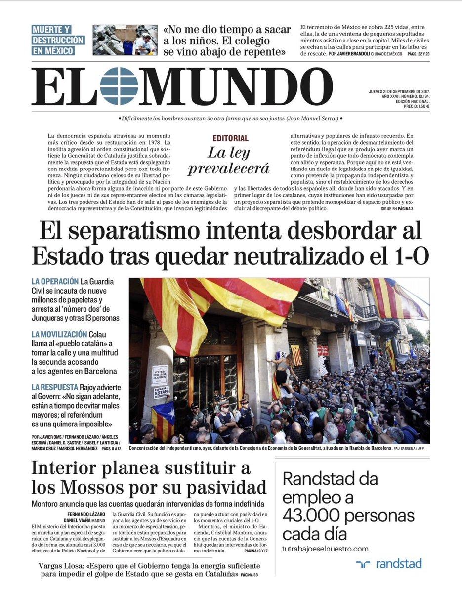 ☕️🗞 Buenos días. Esta es la portada de EL MUNDO de este 21 de septiemb...