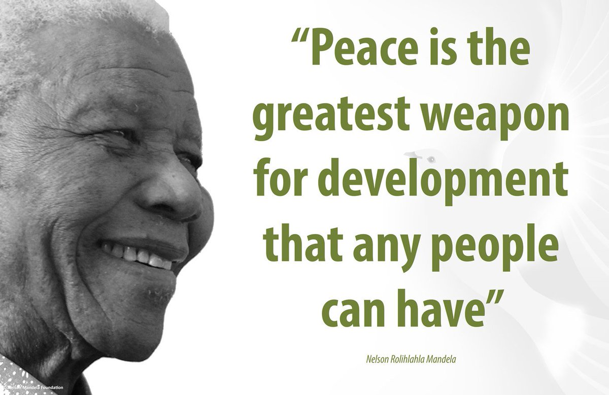 'Peace is the greatest weapon for development that any people can have...