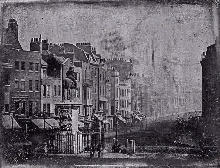 The oldest known photograph of #London - Whitehall from Trafalgar Square c.1839. A Daguerreotype by M. de St. Croix. <br>http://pic.twitter.com/WUXuw7WIf4