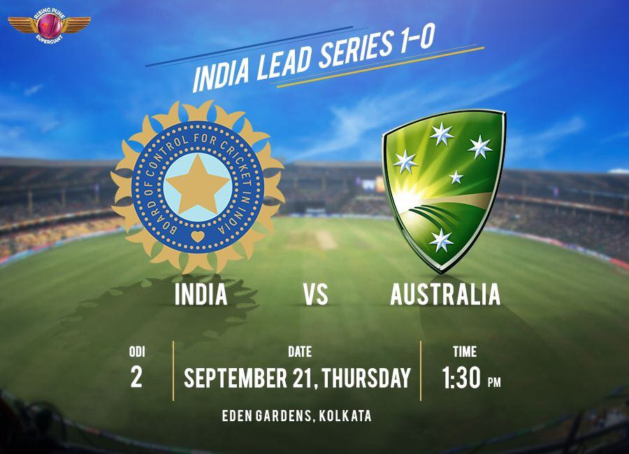 India take on the Aussies at the iconic Eden Gardens stadium in the 2nd ODI in an hours time. 👊😎 #INDvAUS
