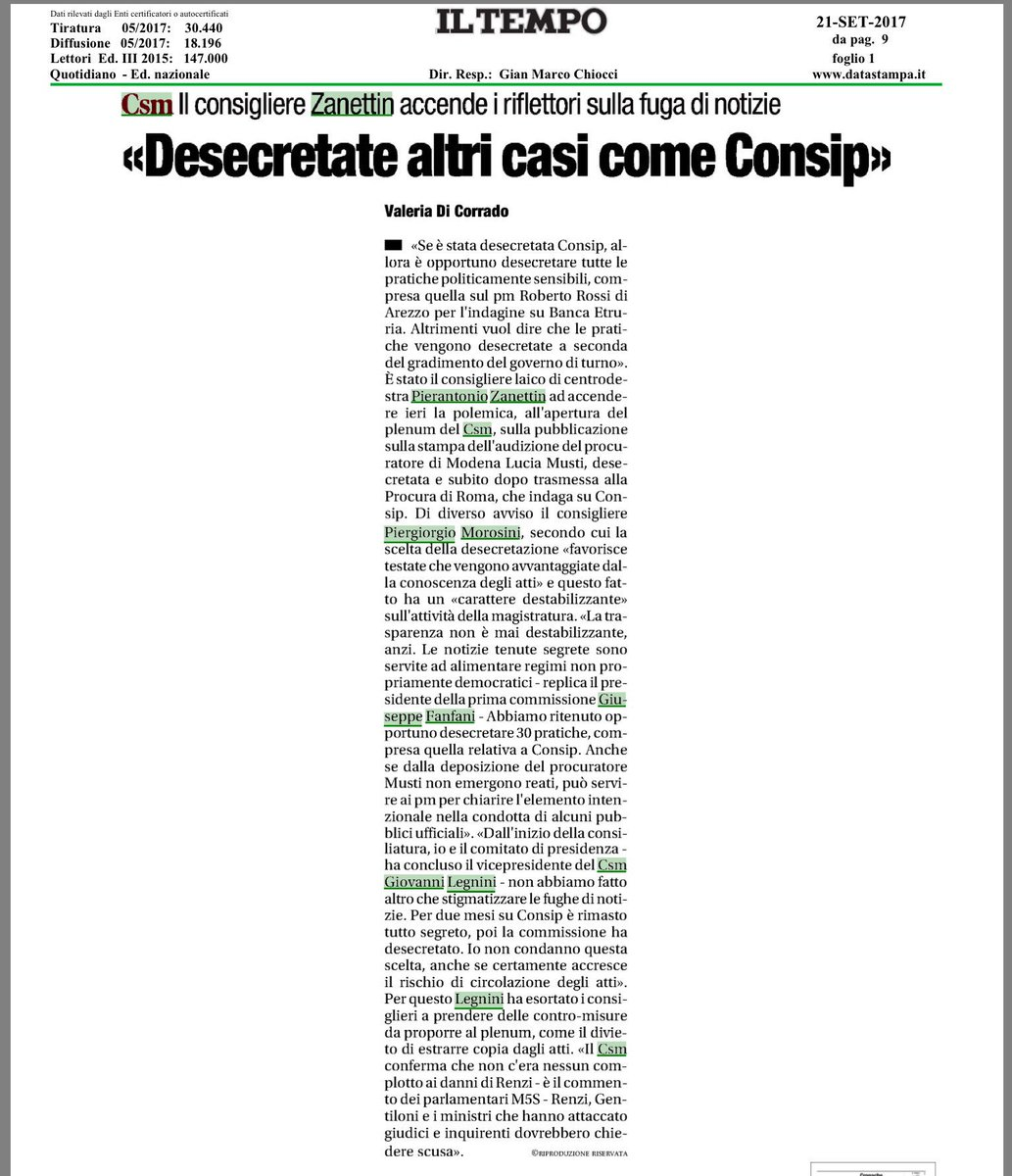 """Inerente Classy pierantonio zanettin on twitter: """"dopo la questione consip, al csm"""