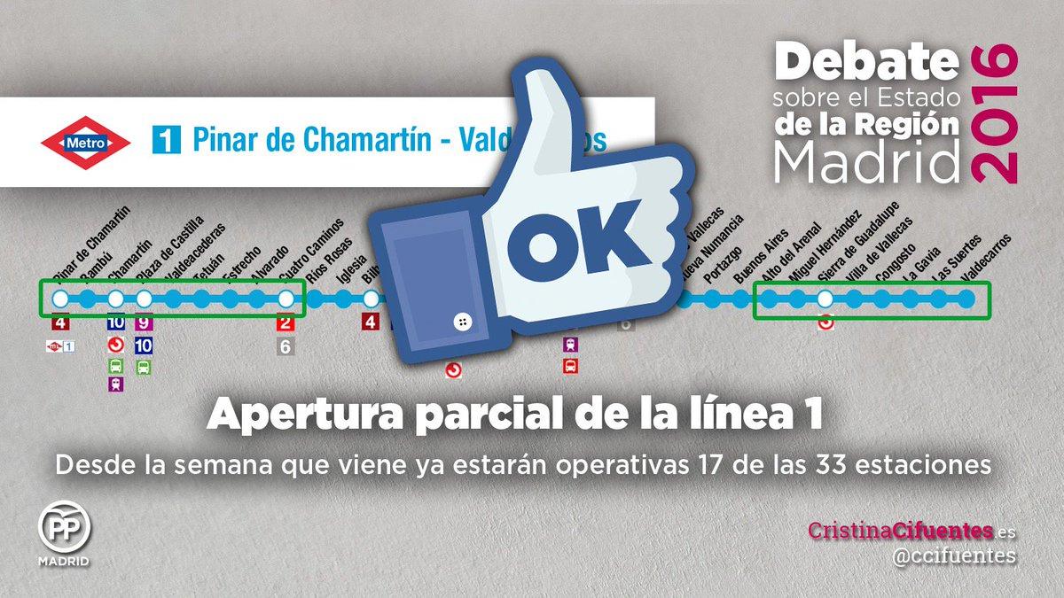 La Linea 1 de Metro de Madrid abrió gracias a @ccifuentes y antes de p...