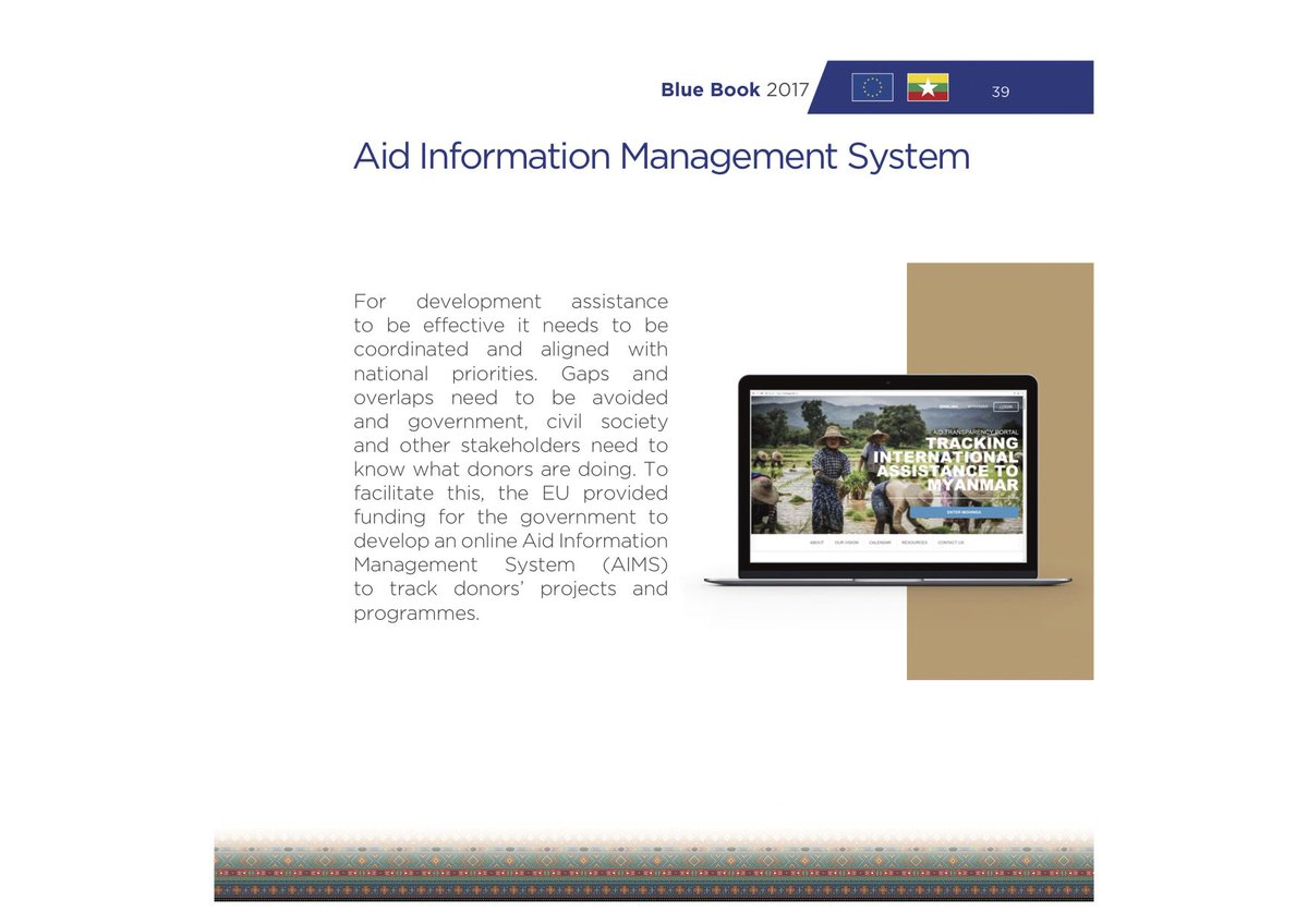 #Myanmar's Aid Info Mgmt System featured in new @EU_Commission 2017 #Bluebook  #aidtransparency #IATI #globaldev   https:// eeas.europa.eu/delegations/my anmar-burma/32554/blue-book-2017-eu-development-cooperation-myanmar_en &nbsp; … <br>http://pic.twitter.com/z3nQOmXrHX