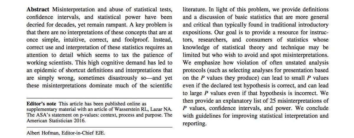 Statistical tests, P values, confidence intervals, and power: a guide to misinterpretations #OA   https:// link.springer.com/article/10.100 7%2Fs10654-016-0149-3 &nbsp; …  h/t @PsyBrief<br>http://pic.twitter.com/dP1hvH4ECv