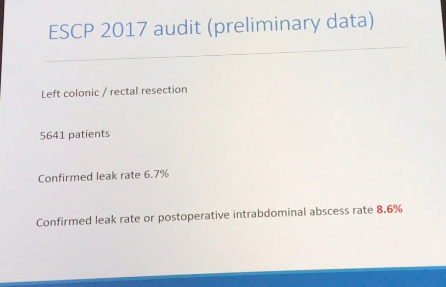8,6% AL rate left colonic and rectal resection across Europe.  Preliminary data from 2017 ESCP snapshot audit. #escp2017 #colorectalsurgery <br>http://pic.twitter.com/jQFfHT7ms1