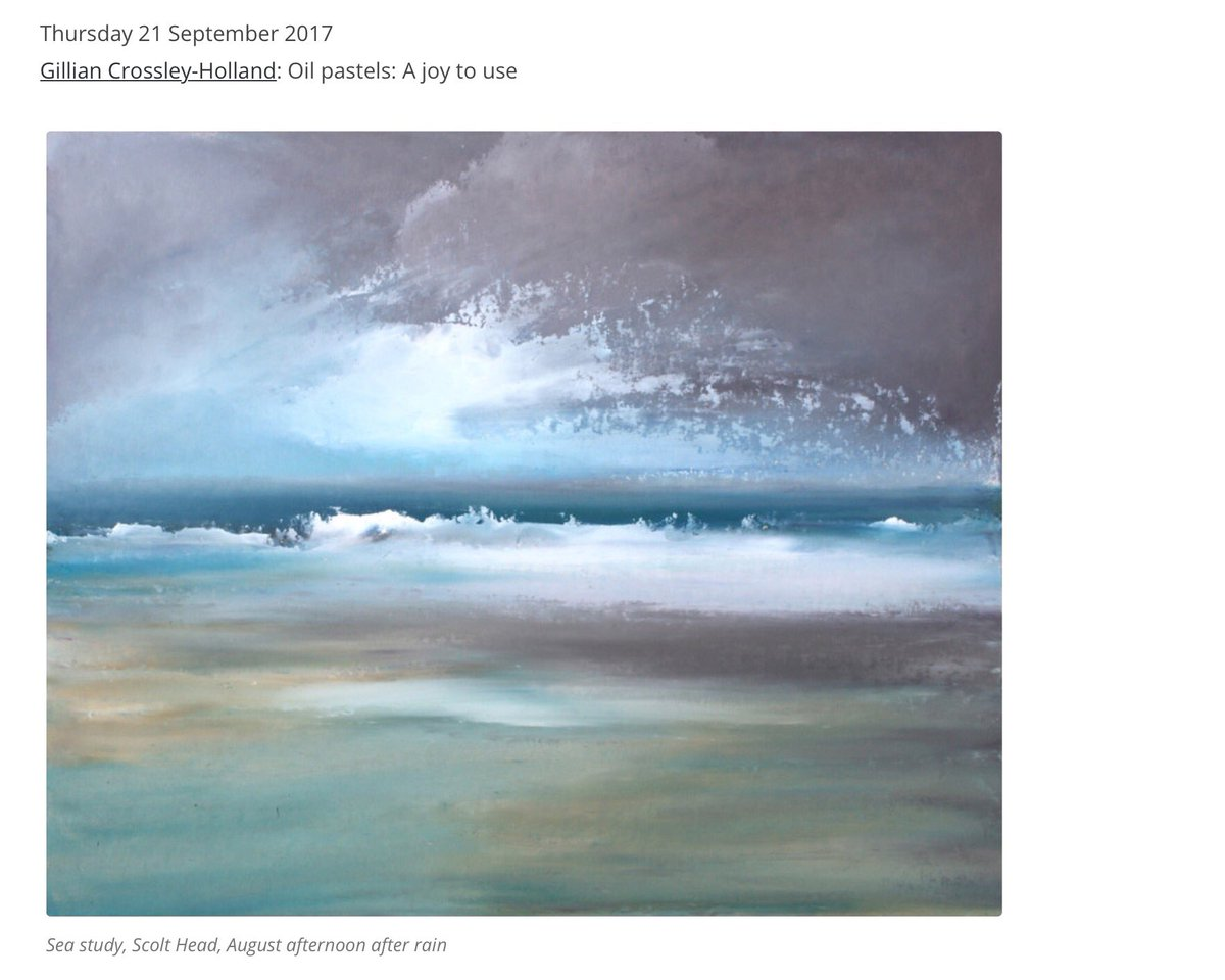 Artist @ARTWORKS_east today Gillian Crossley-Holland, seascapes #oil #pastels #northnorfolk #burnhamoverystaithe  https:// artworksinfo.org.uk/2017/09/11/art works-exhibition-2017-meet-the-artists-daily-presentations/ &nbsp; … <br>http://pic.twitter.com/Y1z7FbCpPm