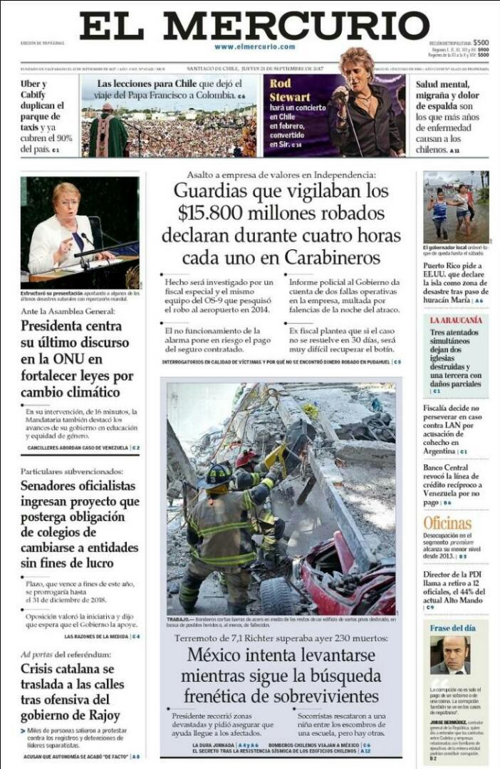 #21Sep EL MERCURIO | CHILE | Banco Central revocó la línea de crédito...