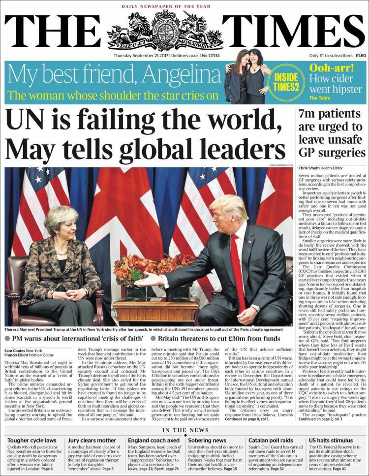 #21Sep THE TIMES | Naciones Unidas le está fallando al mundo, dice The...