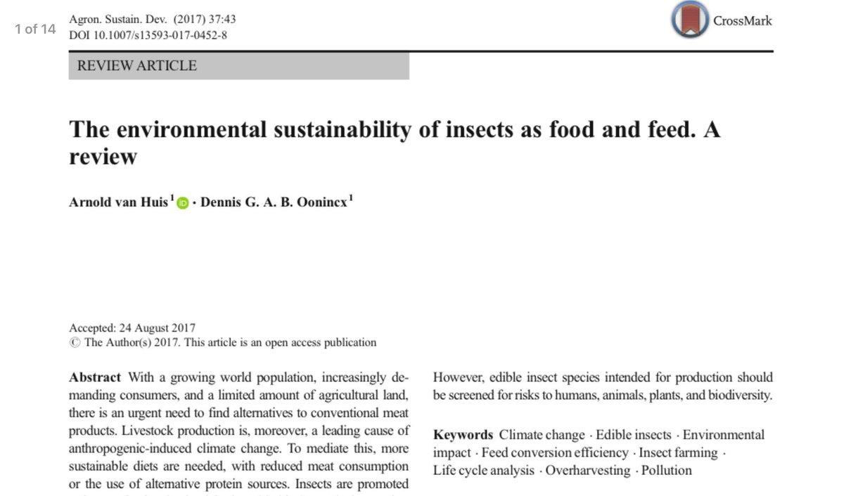 Want to get up to date on the #environmental #sustainability of #edibleinsects? Read this!    https:// link.springer.com/article/10.100 7/s13593-017-0452-8 &nbsp; … <br>http://pic.twitter.com/kCvboaxLRz